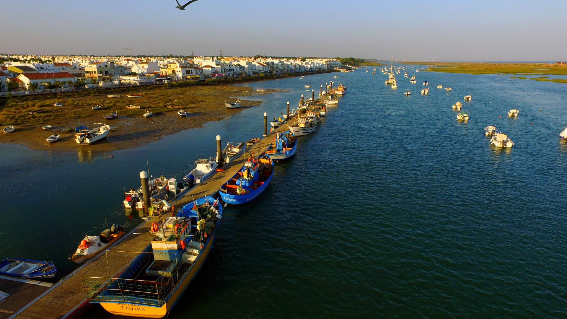 Cabanas de Tavira - Fishing boats by the sunset