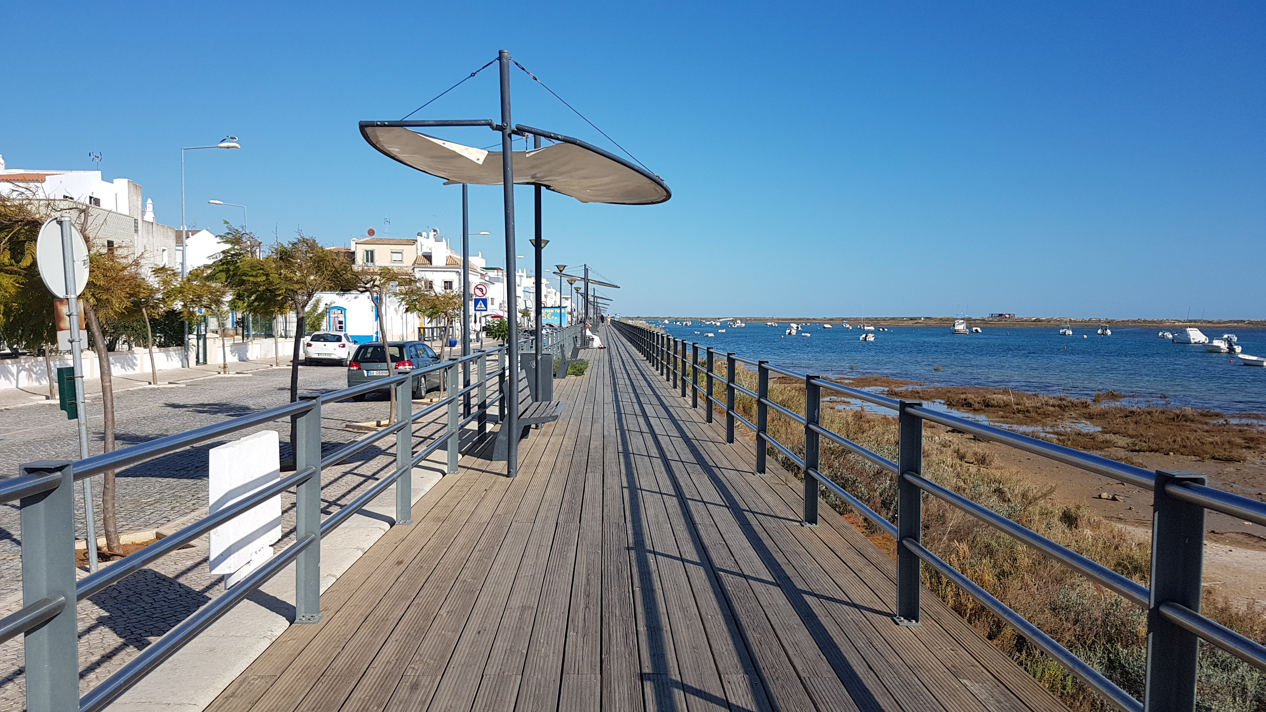 Cabanas boardwalk along the lagoon